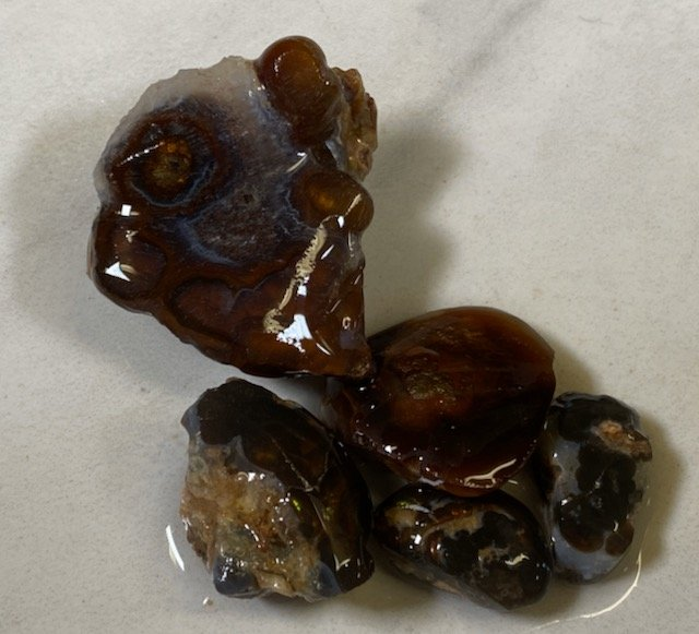 Fire Agate Rough 5 piece Lot
